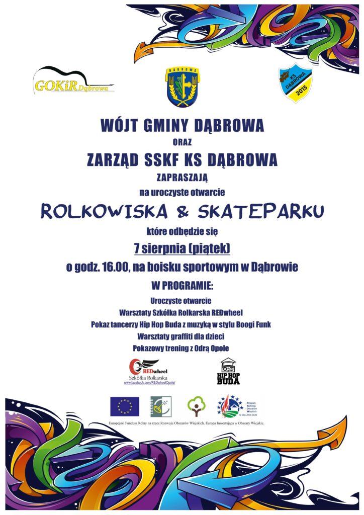 Oficjalne otwarcie Rolkowiska w Gminie Dąbrowa – warsztaty z REDwheel – 07.08.2020 r.